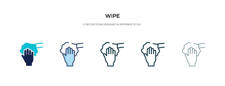 wipe icon in different style vector illustration. two colored and black wipe vector icons designed in filled, outline, line and stroke style can be used for web, mobile, ui