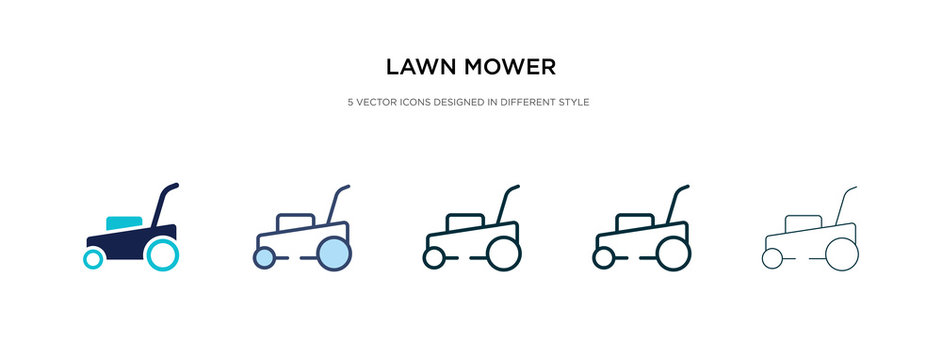 lawn mower icon in different style vector illustration. two colored and black lawn mower vector icons designed in filled, outline, line and stroke style can be used for web, mobile, ui