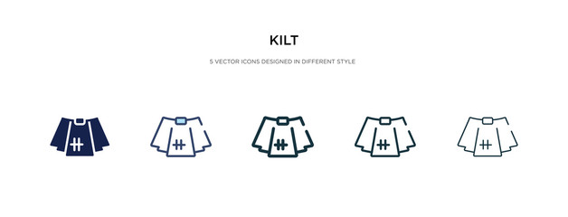 kilt icon in different style vector illustration. two colored and black kilt vector icons designed in filled, outline, line and stroke style can be used for web, mobile, ui