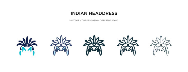 indian headdress icon in different style vector illustration. two colored and black indian headdress vector icons designed in filled, outline, line and stroke style can be used for web, mobile, ui