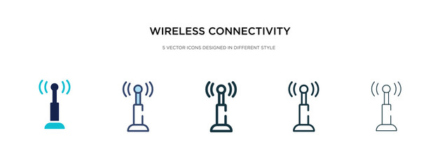 wireless connectivity icon in different style vector illustration. two colored and black wireless connectivity vector icons designed in filled, outline, line and stroke style can be used for web,