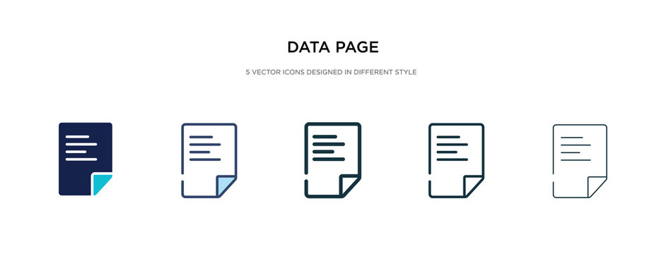 data page icon in different style vector illustration. two colored and black data page vector icons designed in filled, outline, line and stroke style can be used for web, mobile, ui