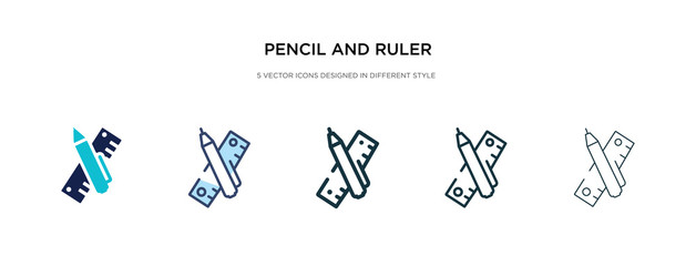 pencil and ruler icon in different style vector illustration. two colored and black pencil and ruler vector icons designed in filled, outline, line stroke style can be used for web, mobile, ui