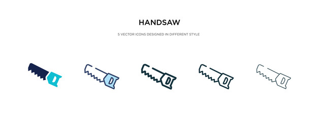 handsaw icon in different style vector illustration. two colored and black handsaw vector icons designed in filled, outline, line and stroke style can be used for web, mobile, ui