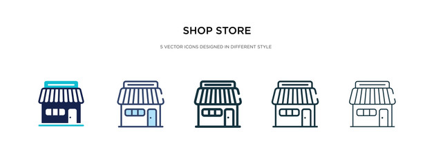 shop store icon in different style vector illustration. two colored and black shop store vector icons designed in filled, outline, line and stroke style can be used for web, mobile, ui