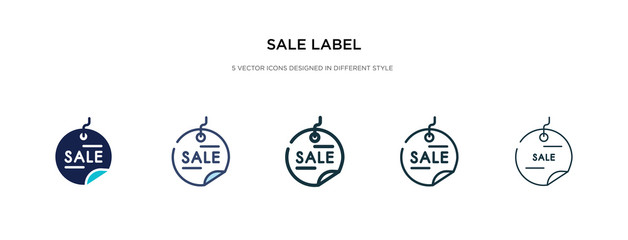 sale label icon in different style vector illustration. two colored and black sale label vector icons designed in filled, outline, line and stroke style can be used for web, mobile, ui