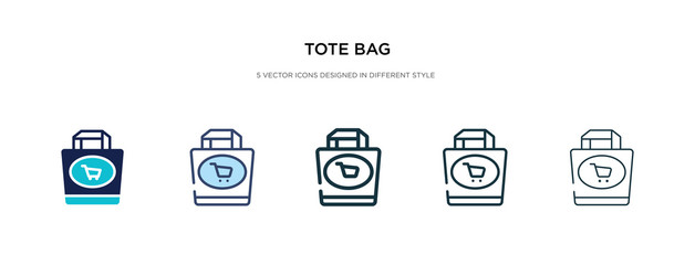 tote bag icon in different style vector illustration. two colored and black tote bag vector icons designed in filled, outline, line and stroke style can be used for web, mobile, ui