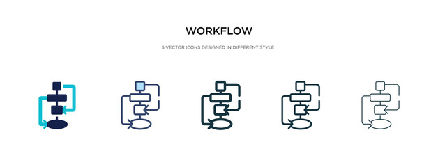 workflow icon in different style vector illustration. two colored and black workflow vector icons designed in filled, outline, line and stroke style can be used for web, mobile, ui