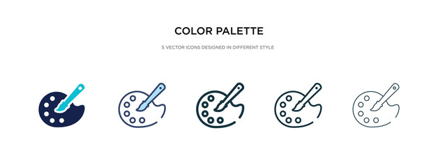color palette icon in different style vector illustration. two colored and black color palette vector icons designed in filled, outline, line and stroke style can be used for web, mobile, ui