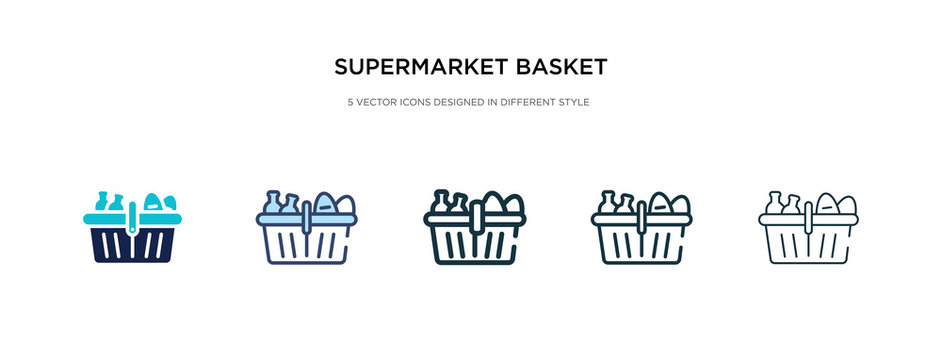 supermarket basket icon in different style vector illustration. two colored and black supermarket basket vector icons designed in filled, outline, line and stroke style can be used for web, mobile,
