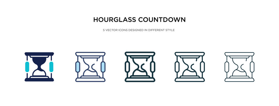 hourglass countdown icon in different style vector illustration. two colored and black hourglass countdown vector icons designed in filled, outline, line and stroke style can be used for web,
