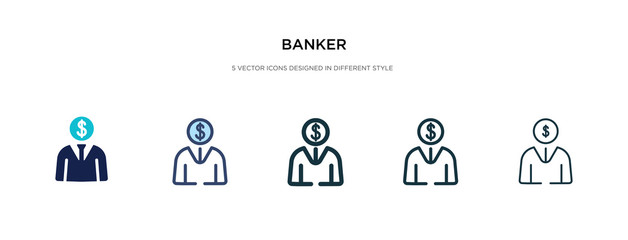 banker icon in different style vector illustration. two colored and black banker vector icons designed in filled, outline, line and stroke style can be used for web, mobile, ui