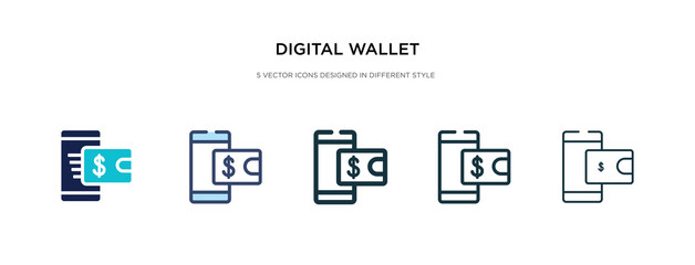 digital wallet icon in different style vector illustration. two colored and black digital wallet vector icons designed in filled, outline, line and stroke style can be used for web, mobile, ui