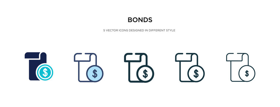 bonds icon in different style vector illustration. two colored and black bonds vector icons designed in filled, outline, line and stroke style can be used for web, mobile, ui