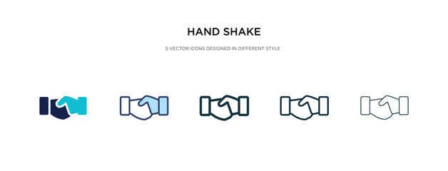 hand shake icon in different style vector illustration. two colored and black hand shake vector icons designed in filled, outline, line and stroke style can be used for web, mobile, ui