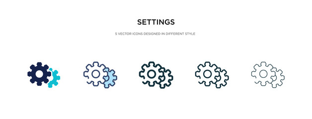 settings icon in different style vector illustration. two colored and black settings vector icons designed in filled, outline, line and stroke style can be used for web, mobile, ui