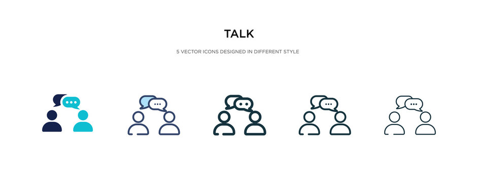 talk icon in different style vector illustration. two colored and black talk vector icons designed in filled, outline, line and stroke style can be used for web, mobile, ui