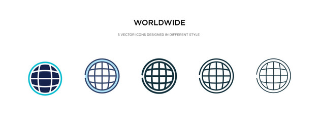 worldwide icon in different style vector illustration. two colored and black worldwide vector icons designed in filled, outline, line and stroke style can be used for web, mobile, ui