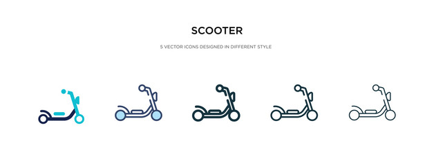 scooter icon in different style vector illustration. two colored and black scooter vector icons designed in filled, outline, line and stroke style can be used for web, mobile, ui