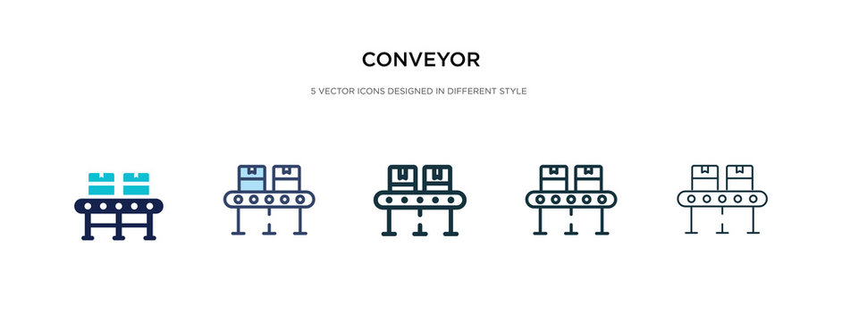 conveyor icon in different style vector illustration. two colored and black conveyor vector icons designed in filled, outline, line and stroke style can be used for web, mobile, ui