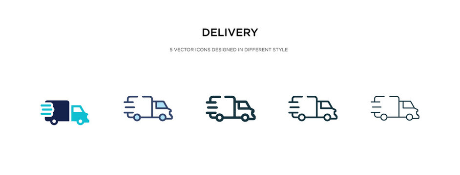 delivery icon in different style vector illustration. two colored and black delivery vector icons designed in filled, outline, line and stroke style can be used for web, mobile, ui