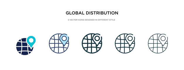 global distribution icon in different style vector illustration. two colored and black global distribution vector icons designed in filled, outline, line and stroke style can be used for web,