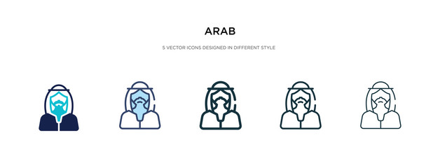 arab icon in different style vector illustration. two colored and black arab vector icons designed in filled, outline, line and stroke style can be used for web, mobile, ui