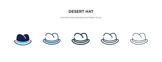 desert hat icon in different style vector illustration. two colored and black desert hat vector icons designed in filled, outline, line and stroke style can be used for web, mobile, ui