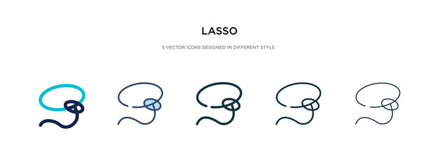 lasso icon in different style vector illustration. two colored and black lasso vector icons designed in filled, outline, line and stroke style can be used for web, mobile, ui