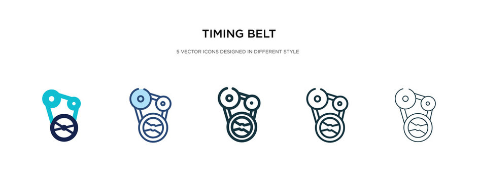 timing belt icon in different style vector illustration. two colored and black timing belt vector icons designed in filled, outline, line and stroke style can be used for web, mobile, ui