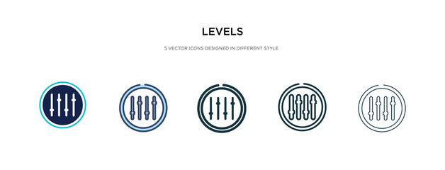 levels icon in different style vector illustration. two colored and black levels vector icons designed in filled, outline, line and stroke style can be used for web, mobile, ui