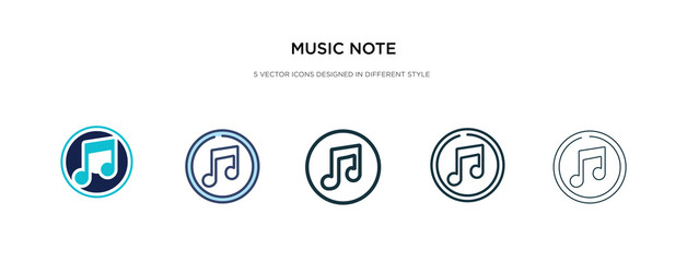 music note icon in different style vector illustration. two colored and black music note vector icons designed in filled, outline, line and stroke style can be used for web, mobile, ui