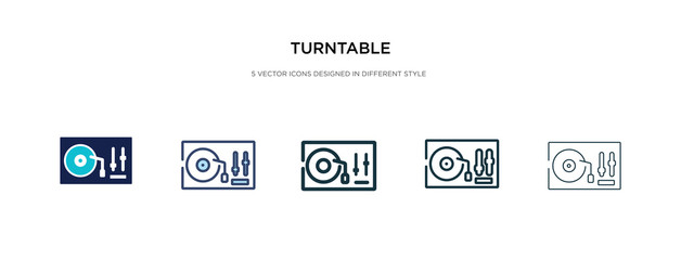 turntable icon in different style vector illustration. two colored and black turntable vector icons designed in filled, outline, line and stroke style can be used for web, mobile, ui