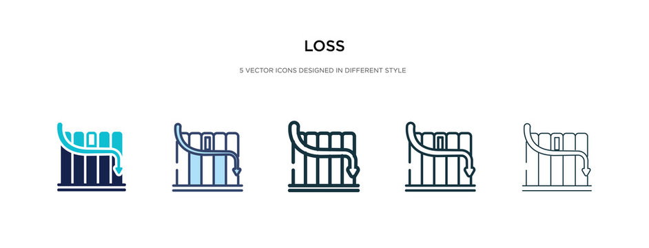 loss icon in different style vector illustration. two colored and black loss vector icons designed in filled, outline, line and stroke style can be used for web, mobile, ui