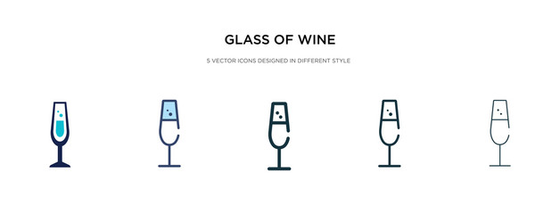 glass of wine icon in different style vector illustration. two colored and black glass of wine vector icons designed in filled, outline, line and stroke style can be used for web, mobile, ui