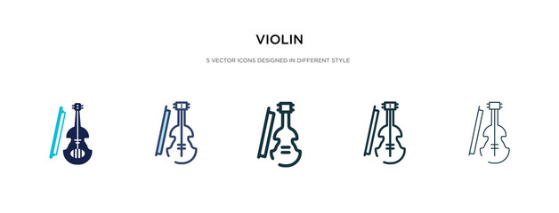 violin icon in different style vector illustration. two colored and black violin vector icons designed in filled, outline, line and stroke style can be used for web, mobile, ui