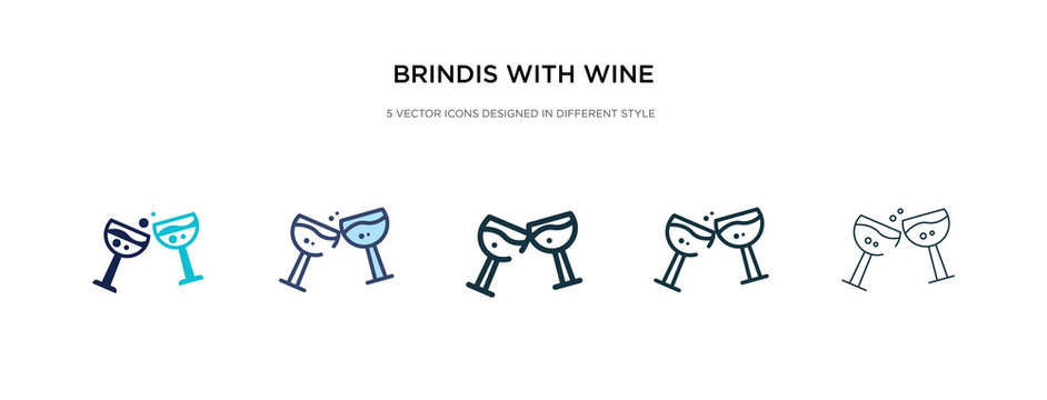 brindis with wine glasses icon in different style vector illustration. two colored and black brindis with wine glasses vector icons designed in filled, outline, line and stroke style can be used for