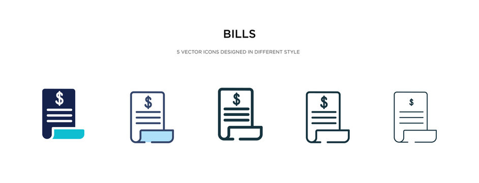 bills icon in different style vector illustration. two colored and black bills vector icons designed in filled, outline, line and stroke style can be used for web, mobile, ui