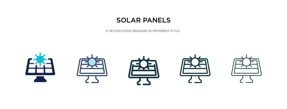 solar panels icon in different style vector illustration. two colored and black solar panels vector icons designed in filled, outline, line and stroke style can be used for web, mobile, ui
