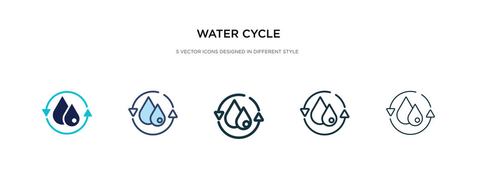 water cycle icon in different style vector illustration. two colored and black water cycle vector icons designed in filled, outline, line and stroke style can be used for web, mobile, ui