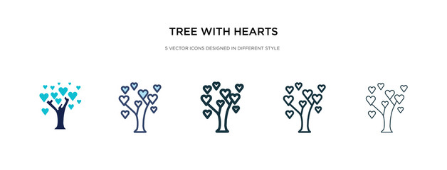 tree with hearts icon in different style vector illustration. two colored and black tree with hearts vector icons designed in filled, outline, line and stroke style can be used for web, mobile, ui