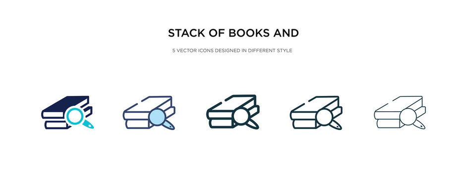 stack of books and magnifier icon in different style vector illustration. two colored and black stack of books and magnifier vector icons designed in filled, outline, line stroke style can be used