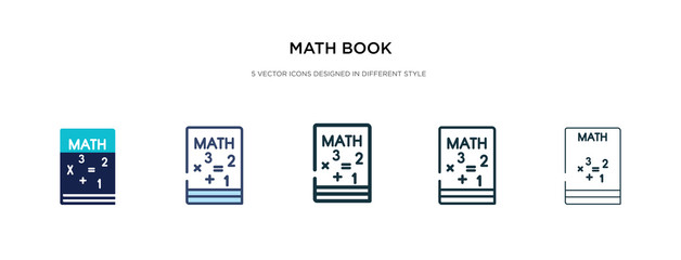 math book icon in different style vector illustration. two colored and black math book vector icons designed in filled, outline, line and stroke style can be used for web, mobile, ui