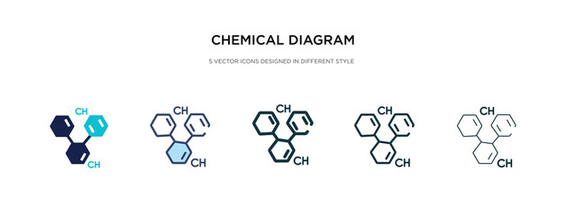 chemical diagram icon in different style vector illustration. two colored and black chemical diagram vector icons designed in filled, outline, line and stroke style can be used for web, mobile, ui