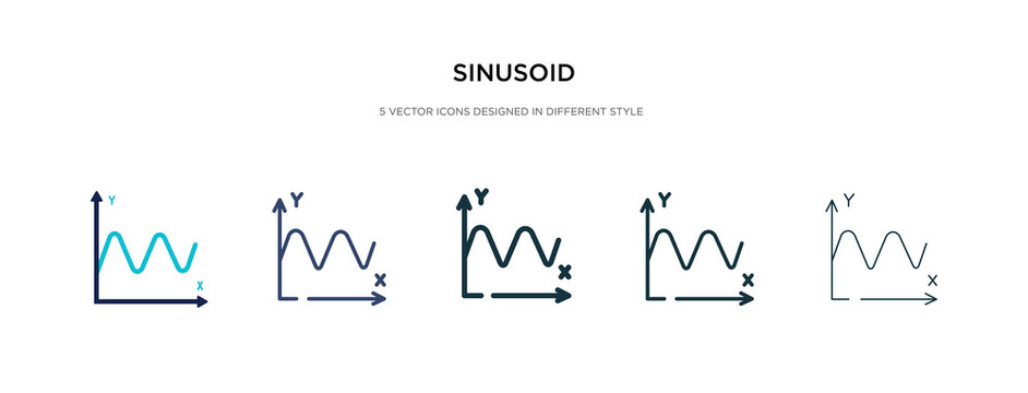 sinusoid icon in different style vector illustration. two colored and black sinusoid vector icons designed in filled, outline, line and stroke style can be used for web, mobile, ui