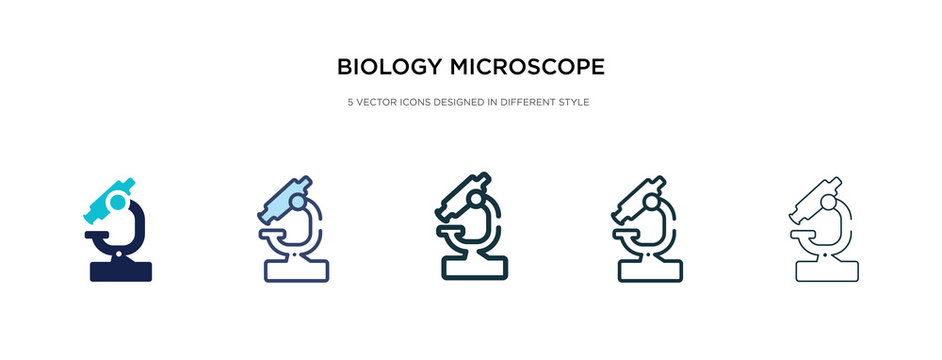 biology microscope icon in different style vector illustration. two colored and black biology microscope vector icons designed in filled, outline, line and stroke style can be used for web, mobile,