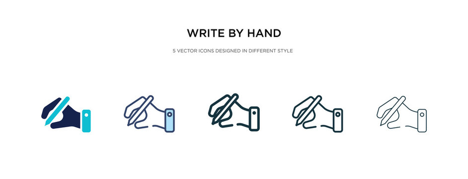 write by hand icon in different style vector illustration. two colored and black write by hand vector icons designed in filled, outline, line and stroke style can be used for web, mobile, ui