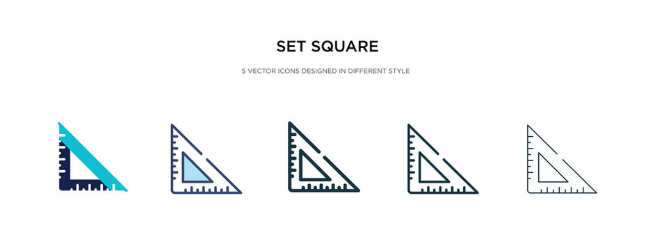 set square icon in different style vector illustration. two colored and black set square vector icons designed in filled, outline, line and stroke style can be used for web, mobile, ui