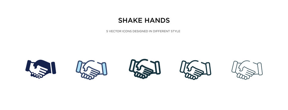 shake hands icon in different style vector illustration. two colored and black shake hands vector icons designed in filled, outline, line and stroke style can be used for web, mobile, ui