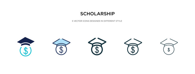 scholarship icon in different style vector illustration. two colored and black scholarship vector icons designed in filled, outline, line and stroke style can be used for web, mobile, ui
